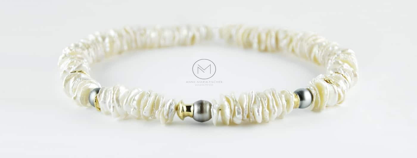 Goldschmiede Anne-Maria Fischer - AM - Leipzig - Schmcukdesign - Unikatschmuck - Halsschmuck - Collier - Keshi-Perlen - Tahiti - Tahiti-Perlen - Gold