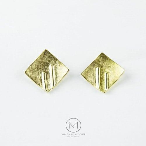 Goldschmiede Anne-Maria Fischer - AM - Leipzig - Schmuckdesign - Unikatschmuck - Ohrschmuck - Ohrstecker - Gelbgold - Gold - 585 - eismatt