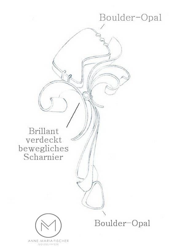Goldschmiede Anne-Maria Fischer - AM - Leipzig - Schmuckdesign - Unikatschmuck - Wettbewerbe - Junge Cellini - Opal - Schmuck ist bunt - Zeichnung